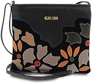 GIUDI ® - Borsa Donna in pelle vitello, vera pelle, tracolla, applicazione petali, Made in Italy. (Nero)