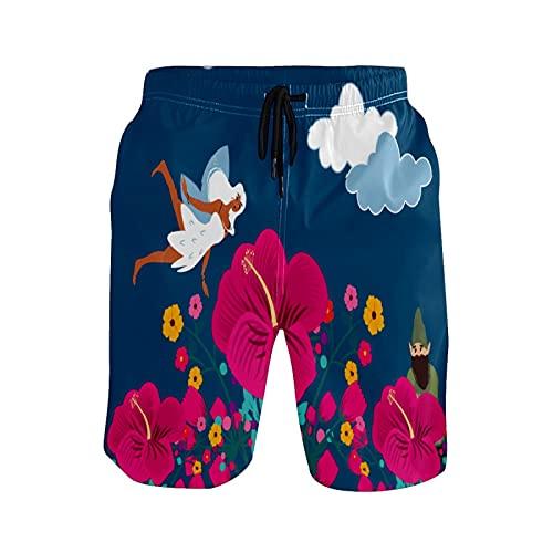 Pantalones de playa para hombre con diseño de fábula de cuento de hadas y gnomo, pantalones cortos de playa - - X-Large