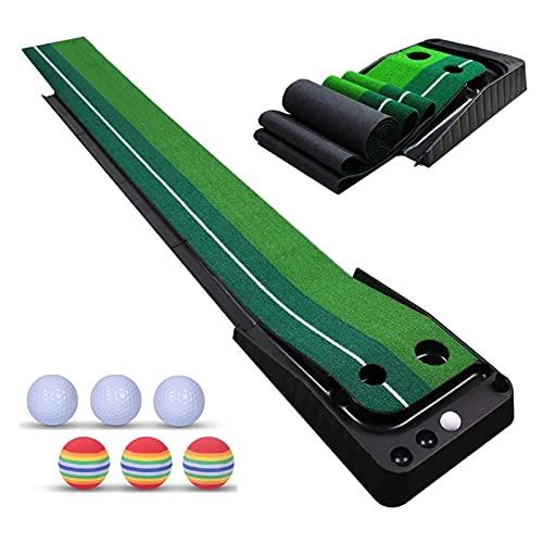 Inomhus Golf Puttmatta, Hopfällbar Golf Putting Green med 6 Bonusbollar har Auto Ball Retur Golf Träningshjälp, Pro Inomhus/Utomhus Golfmattor (30 * 250 Cm)