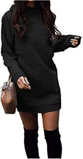 Women's Fleece Long Sweatshirt Dress Crewneck Pullover Casual Long Sleeve Bodycon Mini Sweater Dress