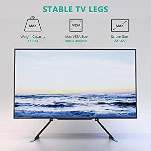 """WALI Table Top TV Stand for Most 22""""-65"""" LCD Flat Screen TV, VESA up to 800 x 400(TVS-001), Black"""