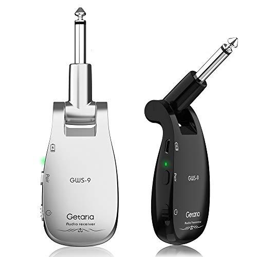 Getaria 2.4GHz Wireless Gitarrensystem Set Audio Gitarren Sender und Empfänger für E-Gitarre Bass Violine (GWS-9 Silber/Schwarz)