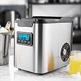 Eiswürfelmaschine 14 kg 24 h, 3 Eiswürfel-Größen, Zubereitung in 6 Minuten, 2.3 Liter Wassertank, LCD Display, Selbstreinigungsfunktion, Edelstahl Eiswürfelbereiter, Leise 150W Ice Maker