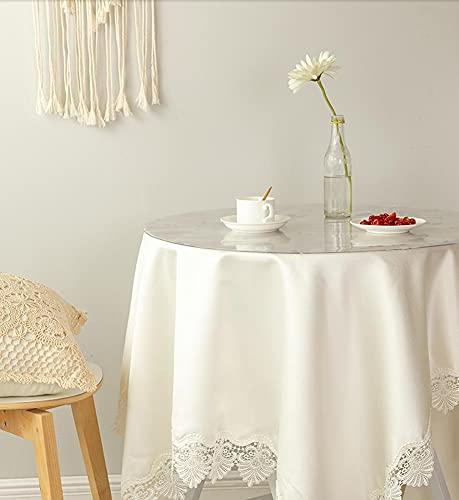 Mantel redondo transparente esmerilado PVC impermeable a prueba de aceite, protector de mesa transparente para mesa de comedor, almohadillas de escritorio de 90 cm de diámetro