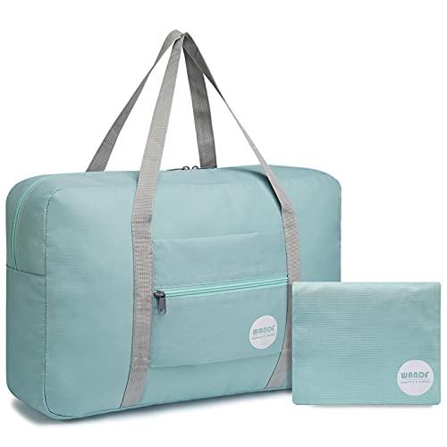 WANDF Foldable Travel Duffel Bag Sac de Voyage Pliable Sac de Sport Gym Résistant à l'eau Nylon (Vert Menthe)