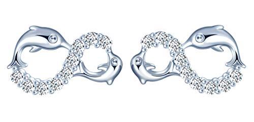 orecchini da donna in argento Sterling 925, stud orecchini a forma di simbolo infinito con doppia delfino, con zirconi brillante gioielli da donna