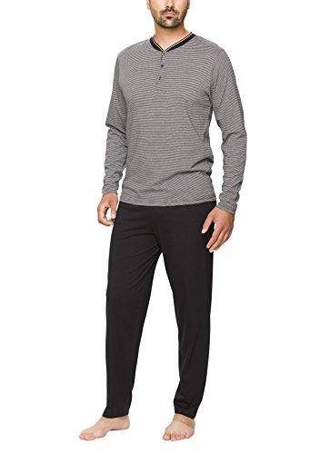 Moonline - Schlafanzug Herren aus Baumwolle, Langer Männer Pyjama mit Öko-Tex Standard 100 (zweiteilig, modernes Design), Farbe:Navy, Größe:M