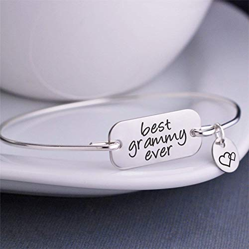 Best Grammy Ever Bangle Bracelet Silver Jewelry Christmas Gift for Grammy