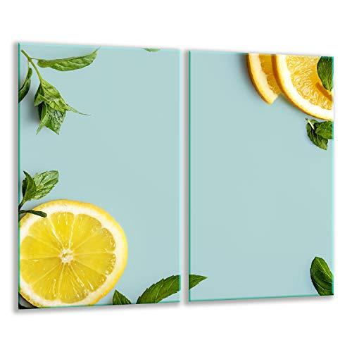 Herdabdeckplatten Ceranfeldabdeckung Spritzschutz Glas 2x30x52 Limetten Gurken