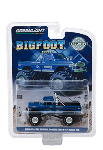 StarSun Depot New 1974 Ford F-250 Monster Truck Bigfoot #1 Blue The Original Monster Truck (1979) Hobby Exclusive 1/64 Diecast Model Car by Greenlight