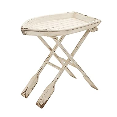 Deco 79 20439 Wood Folding Table, 28  x 25 , Distressed Taupe with Whitewash Finish
