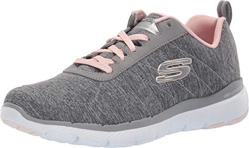 Skechers womens Flex Appeal 3.0 Sneaker, Grey/Light Pink, 9 US