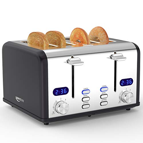 4 Slice Toaster, Keenstone Stainless Steel Toasters with Timer, Wide Slot, Bagel/Defrost/Reheat/Cancel Fuction, Removable Crumb Tray, Black