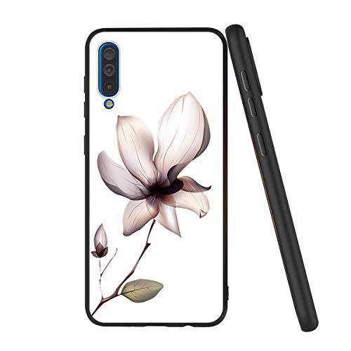 Yoedge Capa para Samsung Galaxy A50/Galaxy A50S, capa preta com design padrão para mulheres e meninas [ultrafina] à prova de choque gel TPU silicone borracha bumper para Samsung Galaxy A50 (flor branca)