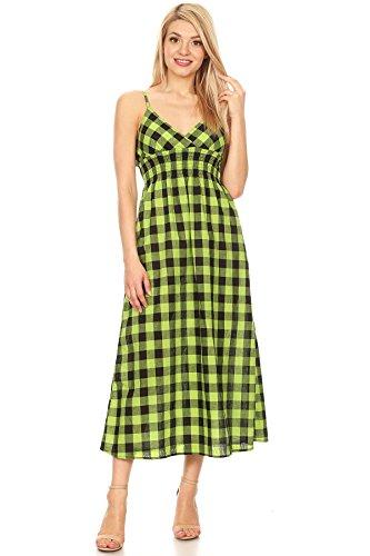 Woman's Long Checkered Dress Smocked Waist Maxi Summer Casual