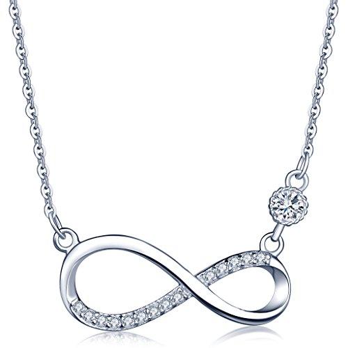 Unendlich U Fashion Unendlichkeit Zeichen Damen Halskette 925 Sterling Silber Zirkonia Anhänger Kette mit Anhänger, Silber