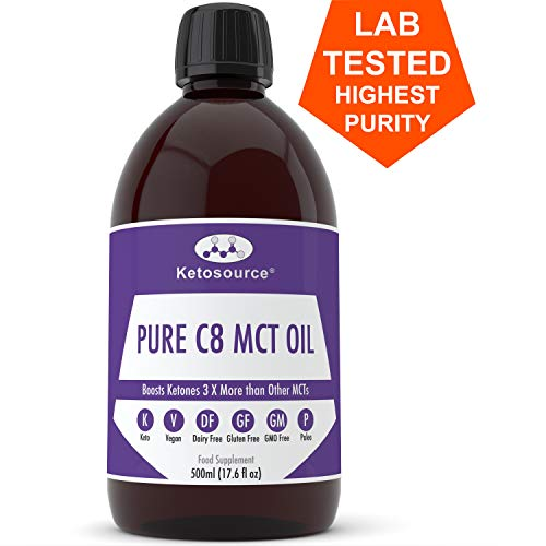 Ketosource Premium C8 MCT Oil | Boosts Ketones 3X More Than Other MCTs | Highest Purity C8 MCT Available 99.8% | Paleo & Vegan Friendly | Gluten Free | Pure Caprylic Acid (17.6oz)