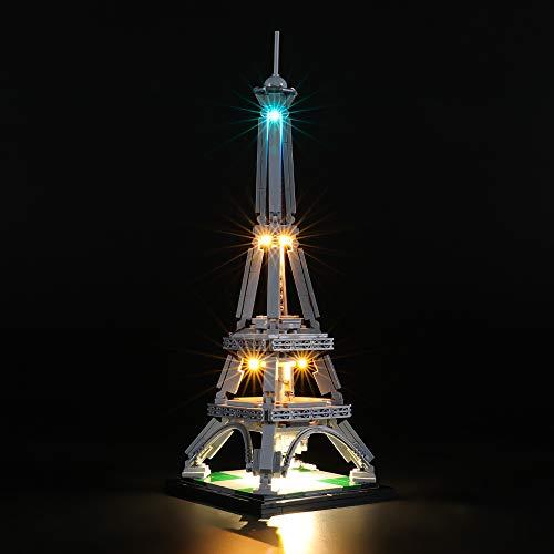 BRIKSMAX Kit di Illuminazione a LED per The Eiffel Tower,Compatibile con Il Modello Lego 21019 Mattoncini da Costruzioni - Non Include Il Set Lego.