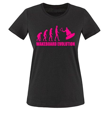 WAKEBOARD EVOLUTION -Damen T-Shirt Schwarz/Pink Gr. S