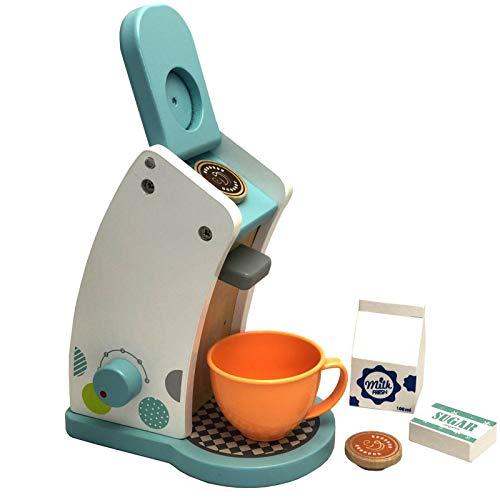 HUIJK Kaffeemaschine Spielküche Haushaltsgerät Spielzeug Holz massiv Kaffeepadmaschine