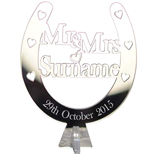 Mr & Mrs Gift Personalised Ornament Valentine's Day Present Wedding Top Table Horseshoe Decoration Personalised Free Standing Sign - 25th Anniversary Gift - Silver Mirror Acrylic