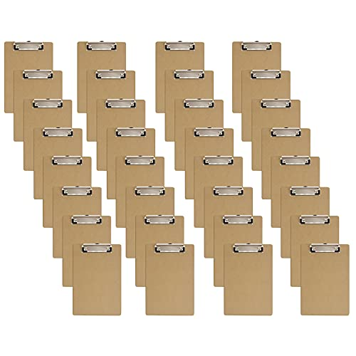 Mini Clipboards, 6 x 9 Inches Small Hardboard Clipboard, Pack of 32