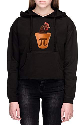 Rundi Hähnchen Topf Pi Unisex Sweatshirt Kapuzenpullover Schwarz Größe XL - Women's Crop Sweatshirt Hoodie Black