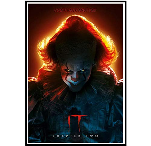 It Chapter 2 Movie Stephen King Horror Pennywise Arte de la pared Lienzo carteles Imprimir Sala de estar Decoración para el hogar -20x28 Pulgadas Sin marco 1 Uds