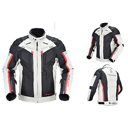 TIUTIU Motorradjacke, Rennanzug, Herausnehmbare, Warme Einlage, Wasserdicht, Winddicht, Ganzkörper-5-Schutzausrüstung Für Männer Und Frauen (Weiß,4XL)