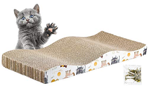 Inntek 1pcs Rascador de Gato, Tablero de Rascar para Gatos, Juguete de Gato, Rascador de Cartón para Gatos, Almohadilla para Rascar Gatos 43.5 * 21.5CM con Catnip Altura 2.5CM Afila Uñas