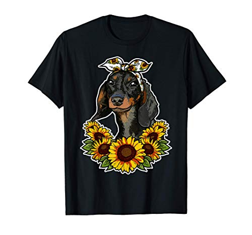 Regalo Para El Perro Decoración De Girasoles Dachshund Camiseta