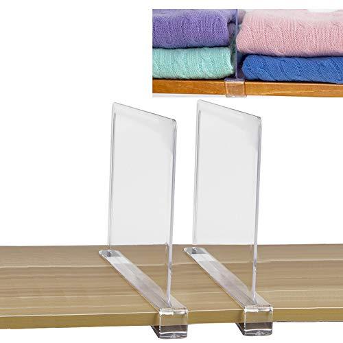 SWAWIS Juego de 2 separadores de estantes, separadores de baldas para Armario, separadores de Sistema de Armario, Sistema de estanterías sin taladrar