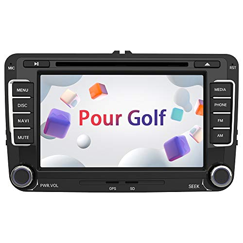 AWESAFE Autoradio pour VW Golf 2 Din Radio de Voiture stéréo 7 Pouces HD Bluetooth Navigation GPS stéréo DVD CD Radio Carte SD USB Multimédia Player