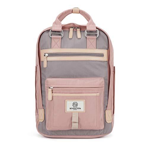 SEVENTEEN LONDON – Moderner, einfacher und Unisex 'Wimbledon' Rucksack in rosa und grau mit einem klassischen Design im Skandi-Stil – perfekt für 13-Zoll-Laptops