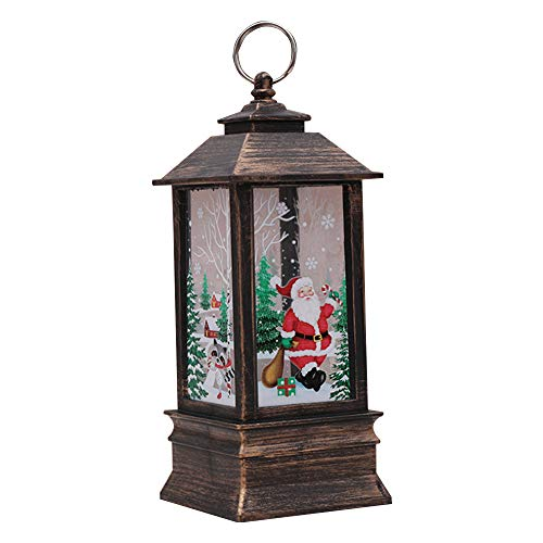 TJW Lanterne de Noël LED avec éclairage blanc chaud, lampe de table et lanterne suspendue, décoration de Noël, PVC, Père Noël en bronze., Taille L