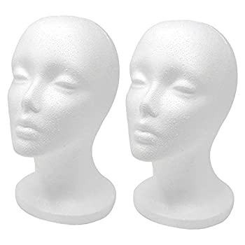 12  2 Pcs Styrofoam Wig Head - Tall Female Foam Mannequin Wig Stand and Holder for Style Model And Display Hair Hats and Hairpieces Mask - for Home Salon and Travel