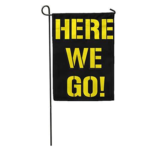 "Ablitt Garden Flags 12"" x 18"" Pittsburgh Here We Go Steelers Football Outdoor Decorative House Yard Flag"
