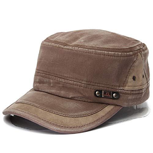 Gorra de béisbol - Gorra Militar - Vintage Washed Army Hat - Sombrero de cadete Plano Liso para Hombre y Mujer (Marrón Claro)