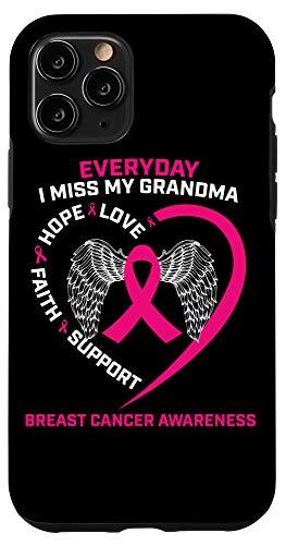 grandma phone cases iPhone 11 Pro Loving Memory Grandma Pink Breast Cancer Awareness Phone Case