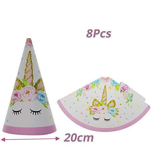 XCVB Tafeldecoratie Feestdecoratie Ballonnen Taarttoppers Kinderen Happy Birthday Feestartikelen Eenhoorn Verjaardag, hoed van 8 stuks