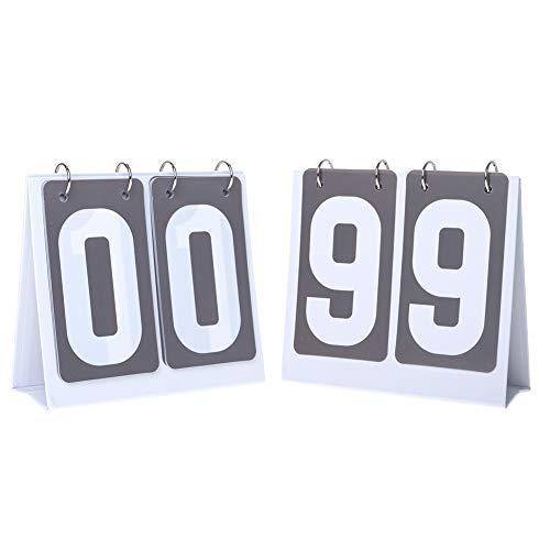 GOGO 2 stellt die tragbare Flip-Anzeigetafel, Tischtennis Zähltafel, Sportanzeigetafel für Sportwettkämpfe für Multi Sports Count von 00 bis 99 EIN (grau)