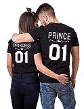 Pareja Camisetas Prince Princess T-Shirt 01 Impresión Hombres y Mujer Camiseta de Los Pares Dulce para Parejas como Regalos Verano Manga Corta 100% Algodón Negro Blanco 2 Piezas