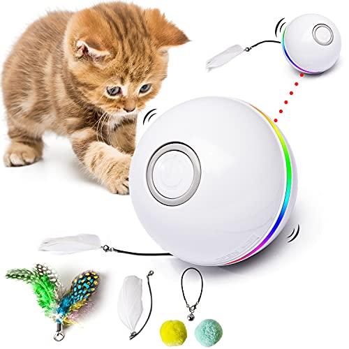 Fairwin Jouet pour Chat, Balles Interactives pour Chats avec Lumières LED et Jouets Cataire pour Chats d'intérieur, Rotation Automatique à 360 Degrés et Chargement USB (2021 Mise à Niveau)