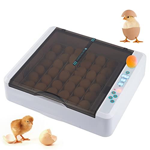 CO-Z Incubadora de 36 Huevos con Giro Automático y Control de Humedad y de Temperatura Incubadora para Huevos de Gallinas, Patos y Codorniz Incubadora de Huevos Digital con Luz LED(36 huevos)