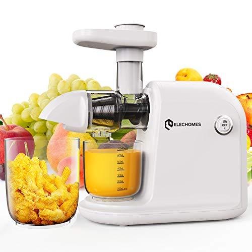 Elechomes Slow Juicer, BPA-frei Profi Entsafter Gemüse und Obst, Langsam Entsafter, 150W Leiser Motot, Kaltgepress Entsafter mit Umkehrfunktion, Leicht zu Reinigen