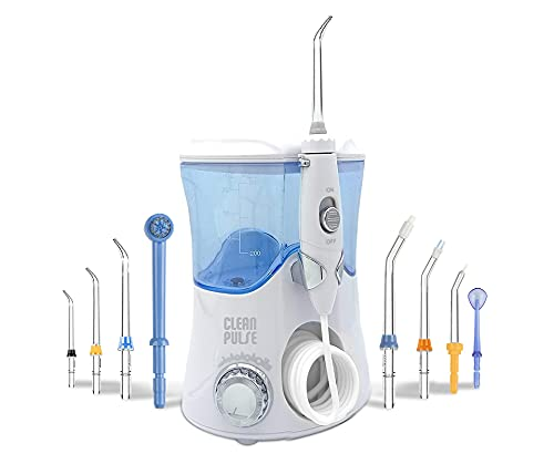 Clean Pulse Pro - Irrigador bucal - Irrigador Dental Profesional, 8 Boquillas, Depósito 600 ml. de Agua y bolsa de Viaje Recomendado por dentistas y médicos especialistas