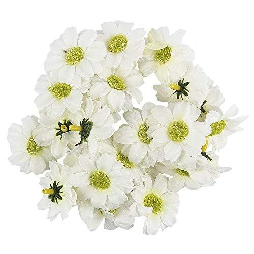 Ideen mit Herz Deko-Blüten, Kunstblumen, Blüten-Köpfe, Verschiedene Sorten, ca. Ø 4-5 cm (Margerite - weiß - 27 Stück)