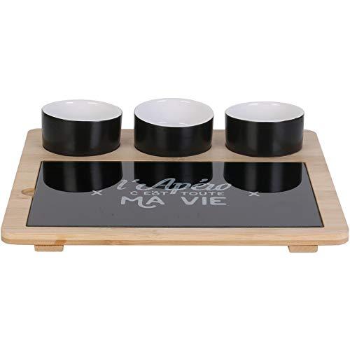 Cook Concept KA4594 Set apéritif 3 verrines coupelles et planche plateau L'apéro c'est toute ma vie Noir et beige Céramique verre et bois de bambou H4,5 x 26 x 27 cm