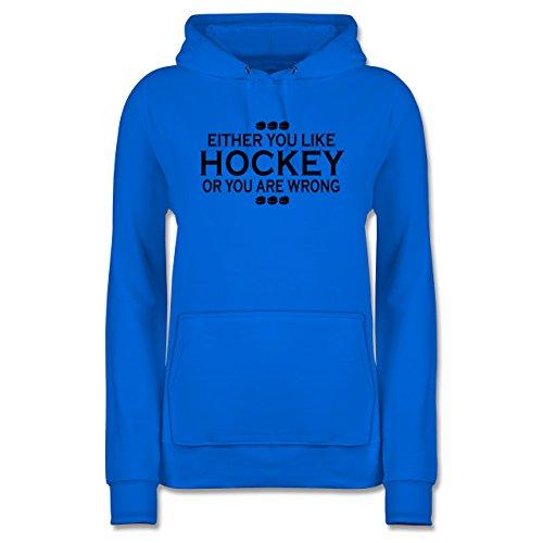 Eishockey - Like Hockey - M - Himmelblau - Sport - JH001F - Damen Hoodie und Kapuzenpullover für Frauen