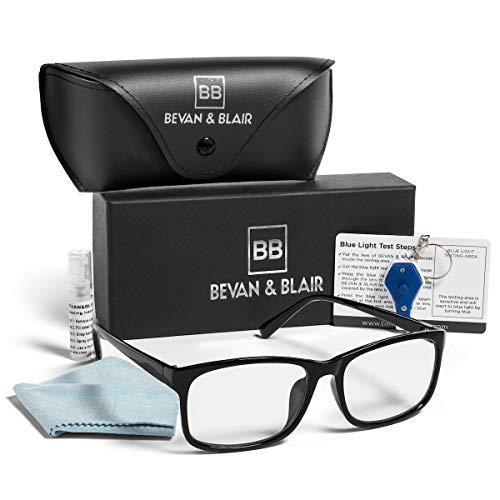 Blue Light Blocking Glasses Men Women, All-in-One Bundle Kit, Non Prescription Large Square Frame Glasses, Anti Glare UV Filter Blue Blockers, Reduce Computer Screen Eye Strain by BEVAN & BLAIR